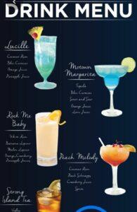 Электронное меню коктейли